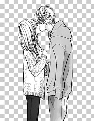 Anime Drawing Manga Black And White Kiss PNG