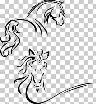 Horse Stencil Line Art PNG