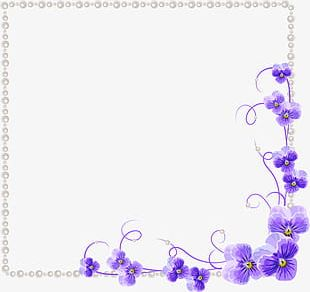 Purple Orchid Flower Border Texture PNG