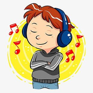 Boy Listening To Music PNG