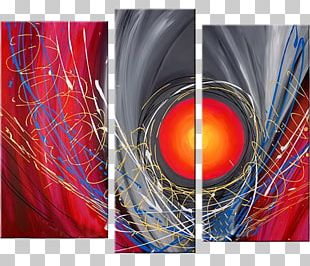Oil Painting Abstract Art Triptych PNG