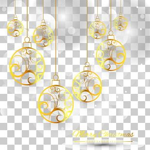 Grey Light Effect Golden Christmas Ball PNG