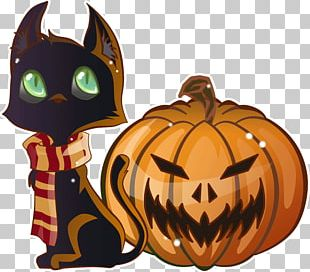 Black Cat Halloween Pumpkin Jack-o'-lantern PNG