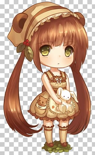 Chibi Drawing Anime Brown Hair PNG