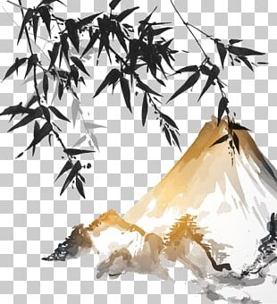 Ink Wash Painting Bamboo Japanese Painting PNG