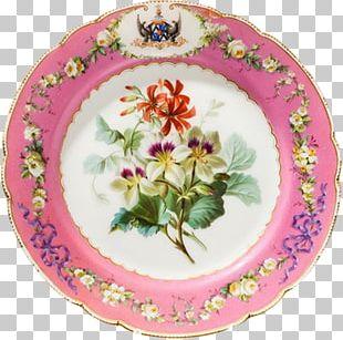 Plate Platter Porcelain Floral Design Saucer PNG
