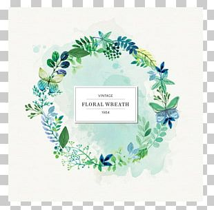 Flower Watercolor Painting Wreath Green PNG