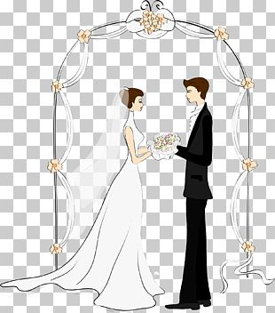 Cartoon Couple Wedding Drawing Marriage PNG