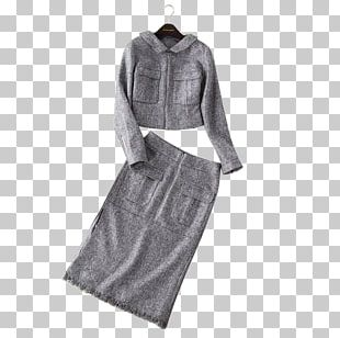 Fashion Grey Black And White Sleeve Dress PNG