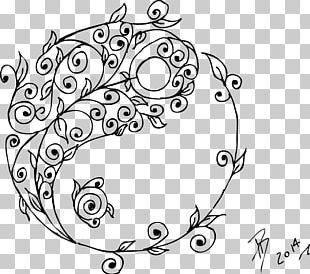 Line Art Drawing Black And White Tattoo Yin And Yang PNG