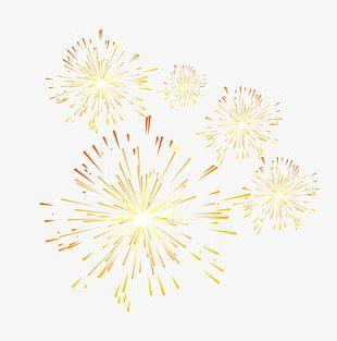 Golden Simple Fireworks Decorative Patterns PNG