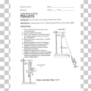 Pulley Simple Machine Laboratory Paper Science PNG