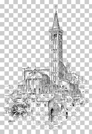 Church Drawing Notre-Dame De Paris Cathedral Sketch PNG