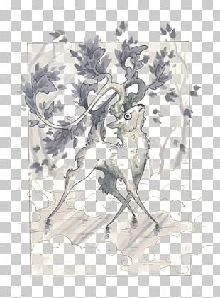 Deer Watercolor Painting Drawing Sketch PNG