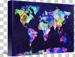 World Map Globe Canvas Print Watercolor Painting PNG