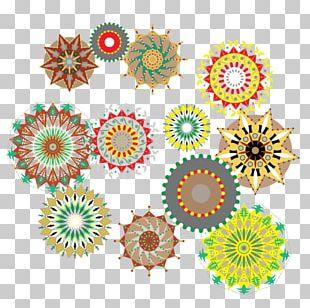 Floral Design Cut Flowers Circle Pattern PNG