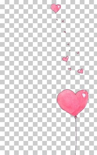 Balloon Heart Paper Drawing Watercolor Painting PNG