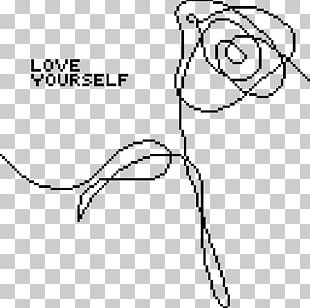Love Yourself: Her BTS Flower Drawing PNG