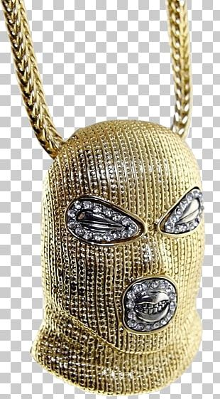 Chain Necklace Gold Pendant Mask PNG