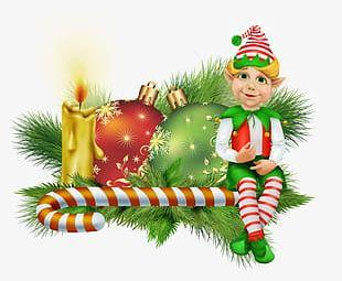 Christmas Candles And Christmas Balls PNG