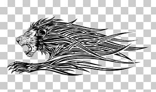 Lion Tattoo Illustration PNG