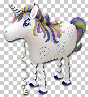 Gas Balloon Unicorn Party Birthday PNG
