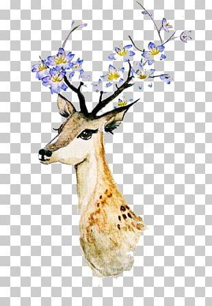 Deer Creative Watercolor Watercolor Painting PNG