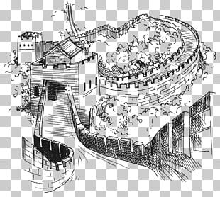 Great Wall Of China Drawing Architecture Wonders Of The World Sketch PNG