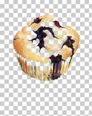 Muffin Cupcake Blueberry Watercolor Painting Illustration PNG