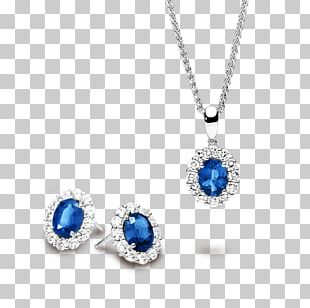 Sapphire Earring Locket Jewellery Necklace PNG
