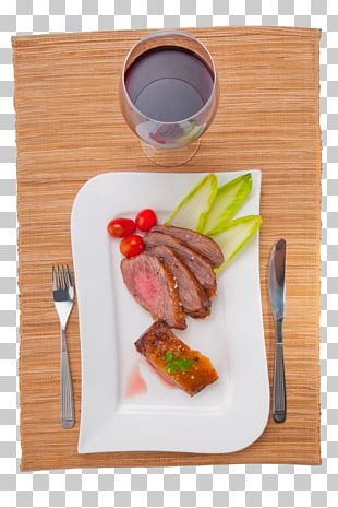 Red Wine Beefsteak Fish Steak Full Breakfast PNG