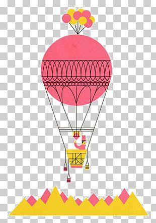 Hot Air Balloon Flight Drawing Illustration PNG