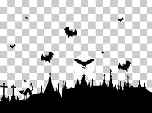 Graveyard And Flying Bats PNG