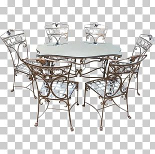Table Chair Garden Furniture Dining Room Wrought Iron PNG