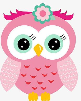 Hand-painted Cartoon Cute Pink Owl PNG