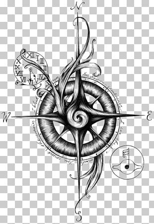 Sailor Tattoos Compass Nautical Star Flash PNG