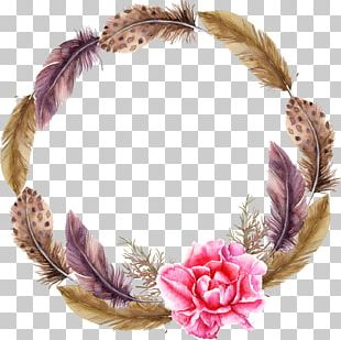Feather Wreath Watercolor Painting PNG