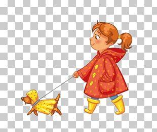 Dog Walking Rain Illustration PNG