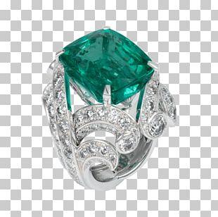 Emerald Brilliant Jewellery Gemstone Engagement Ring PNG