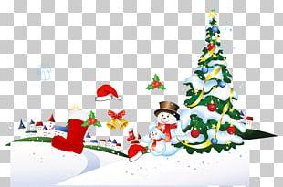 Santa Claus Christmas Tree Gift Poster PNG