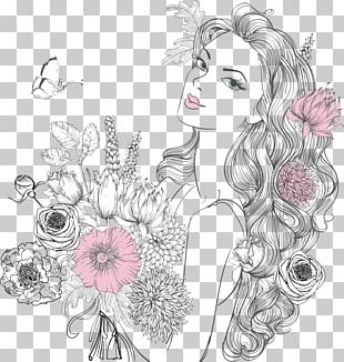 Woman Drawing Flower Portrait PNG