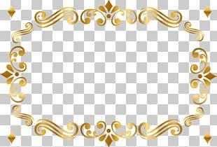 Gold Frame Green Pattern PNG