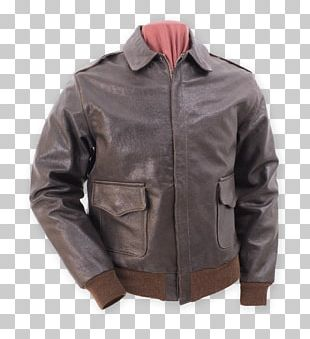 Leather Jacket A-2 Jacket Flight Jacket Seal Brown PNG
