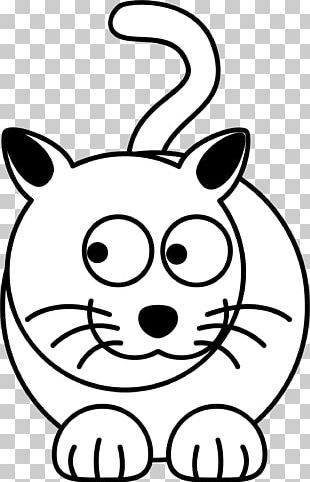 Cat Kitten Cartoon Black And White PNG