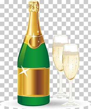 Champagne Bottle Illustration PNG