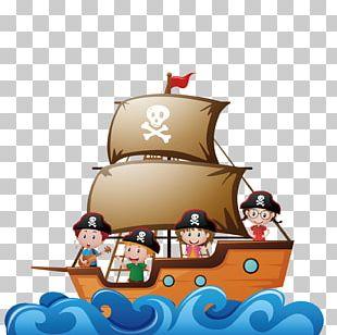 Piracy Child Ship Illustration PNG