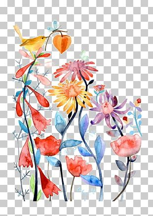 Watercolour Flowers Bird Paper Watercolor Painting PNG