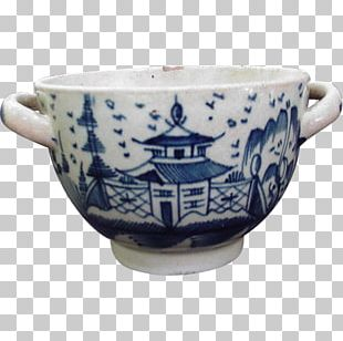 17th Century Ceramic Coffee Cup Bowl Blue And White Pottery PNG
