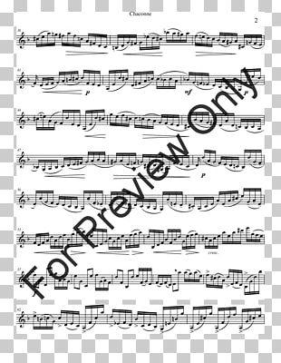 Sheet Music Chaconne Cello Partita For Violin No. 2 PNG