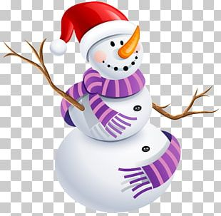 Snowman Sticker Purple Character PNG